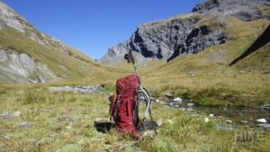 Backpack next to stream on the plateau near Rabbit Pass
